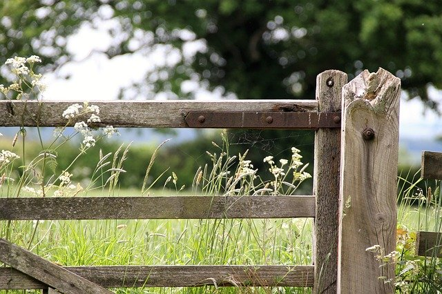 A picture of a simple farm gate